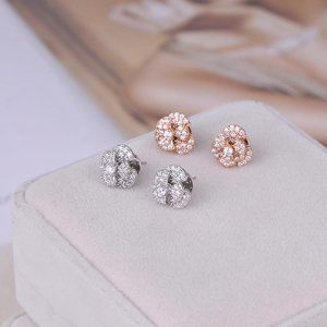 Henri Bendel Zircon Shiny Flower Stud Earrings